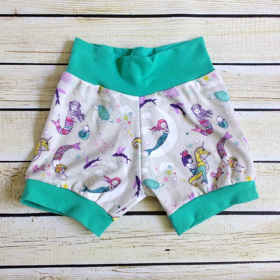 Mermaid Lullaby Organic Knit Shorts - Little Green Bird