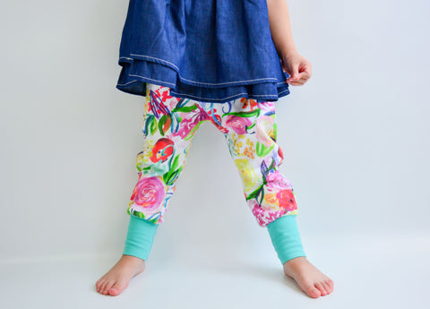 Bright Floral Organic Knit Joggers - Little Green Bird