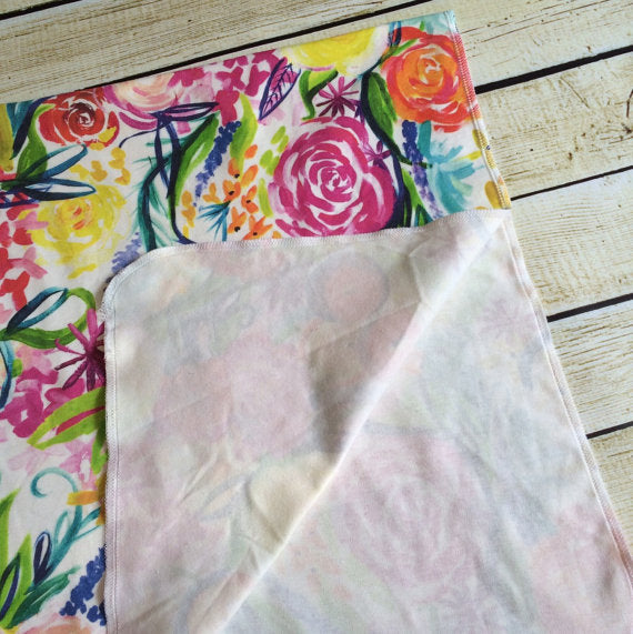 Watercolor Floral  Organic Swaddle Blanket - Little Green Bird