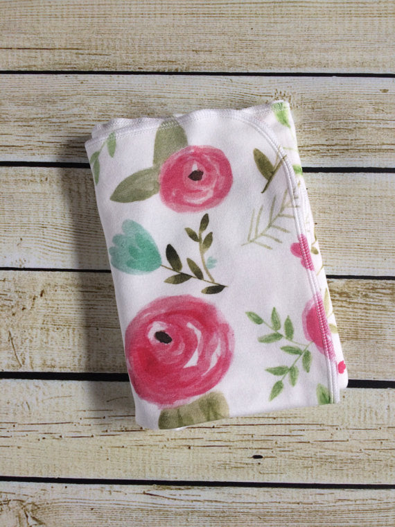 Organic Cotton Knit Floral Swaddle Blanket - Little Green Bird
