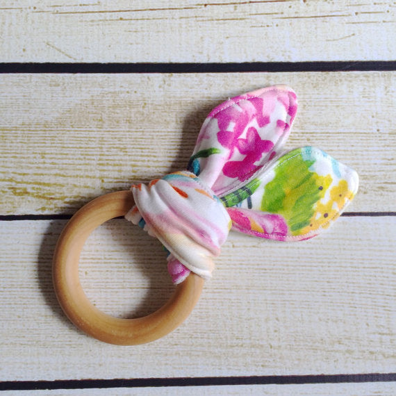 Organic Cotton Knit Wooden Teething Ring Watercolor Florals - Little Green Bird