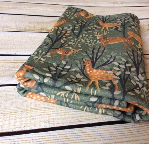 Organic Cotton Knit Deer Family Swaddle Blanket - Little Green Bird