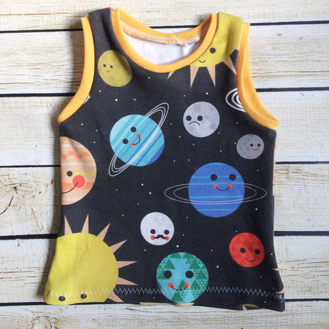 Space Friends Organic Tank Top - Little Green Bird