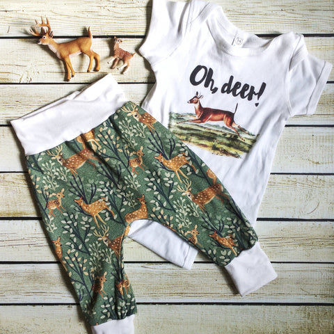 Deer Family Organic Knit Pants - Little Green Bird