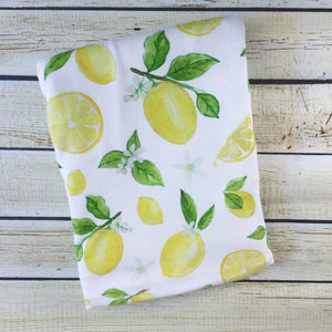 Organic Cotton Lemon Love Swaddle Blanket - Little Green Bird