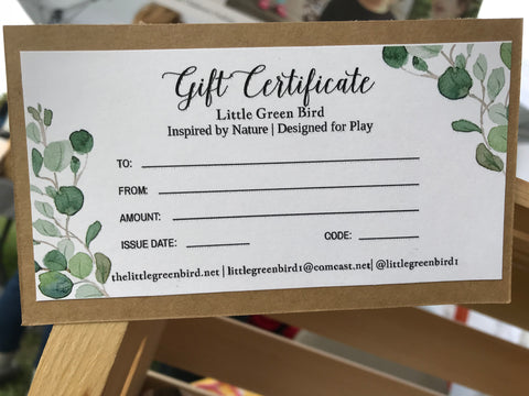 Gift Certificate - Little Green Bird