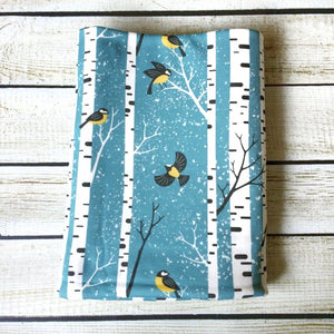 Snowy Day Birds Organic Swaddle Blanket - Little Green Bird