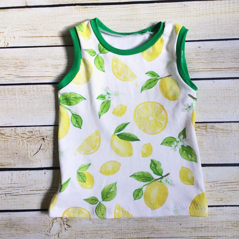Lemon Days Organic Tank Top - Little Green Bird