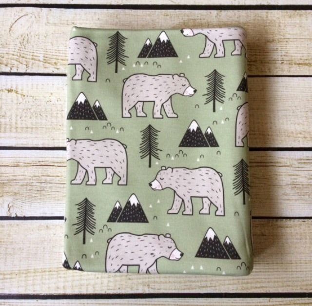 Mountain Bears in Green Organic Cotton Swaddle Blanket - Little Green Bird