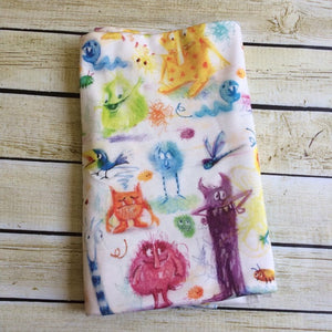 Monster Party Organic Swaddle Blanket - Little Green Bird