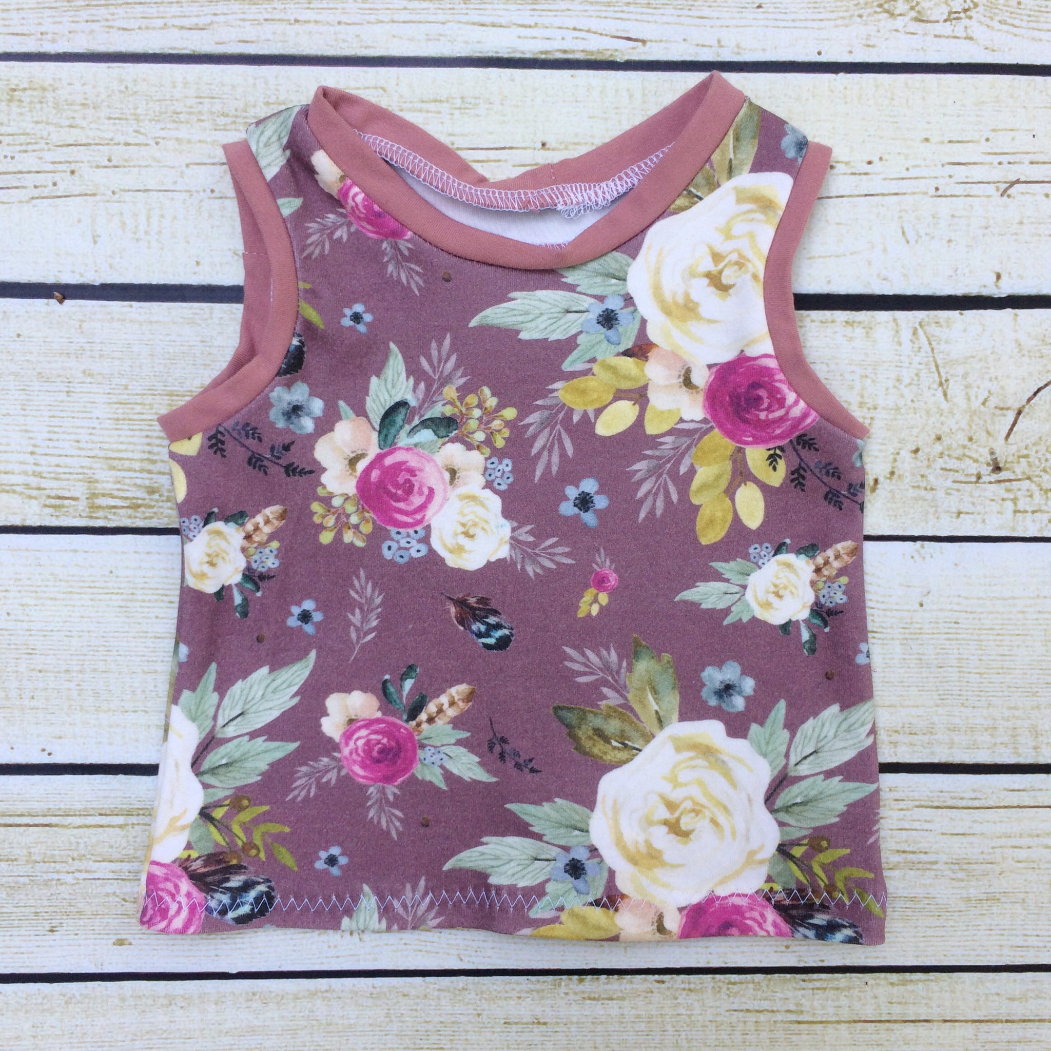 Vintage Floral Organic Tank Top - Little Green Bird