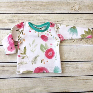 Watercolor Floral Organic Knit Shirt - Little Green Bird