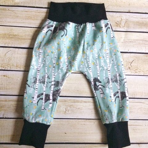 Running Horses in Blue Organic Knit Pants - Little Green Bird