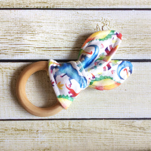 Rainbow Dinosaur Wooden Teething Ring - Little Green Bird