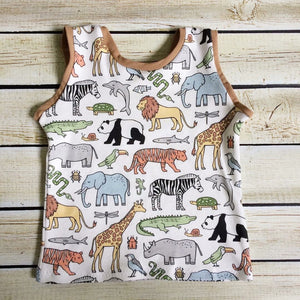 Zoo Animals on Parade Organic Tank Top - Little Green Bird