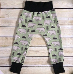 Mountain Bears Organic Knit Joggers - Little Green Bird