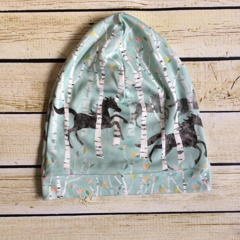 Running Horses in Blue Slouchy Beanie - Little Green Bird
