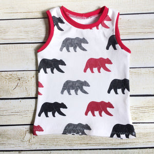 Lumberjack Bears Organic Tank Top - Little Green Bird