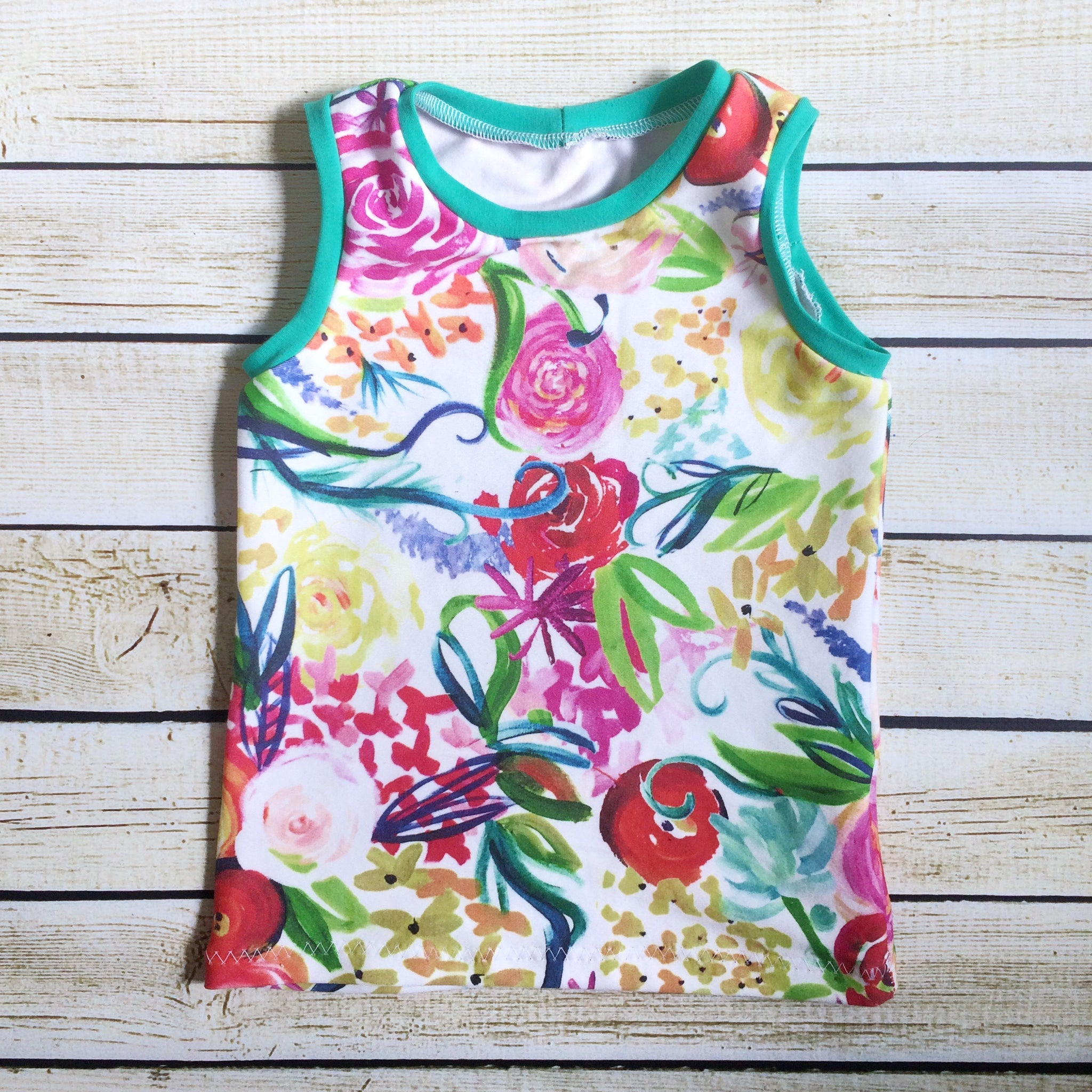 Bright Florals Organic Tank Top - Little Green Bird
