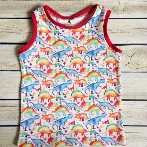 Rainbow Dinosaurs Organic Tank Top - Little Green Bird