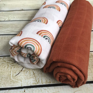 Scattered Rainbows Double Gauze Swaddle Blanket Set