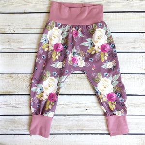 Vintage Floral Organic Knit Pants - Little Green Bird