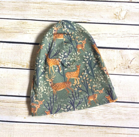 Organic Deer Family Slouchy Beanie - Little Green Bird