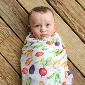 Harvest Time Organic Muslin Swaddle Blanket - Little Green Bird