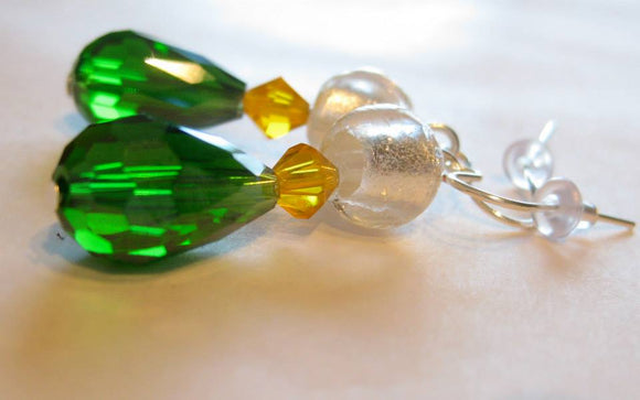 Green & Gold Series: glass drop earrings