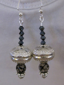 Lg Silver bead with Jet crystals earrings