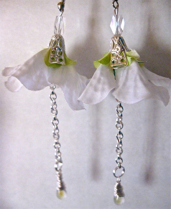 Silk flower earrings: Honeysuckle Dewdrop