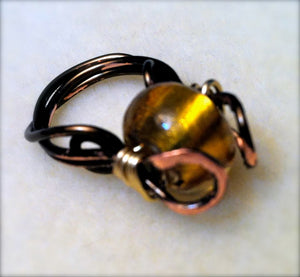 Amber Glass Spinner ring