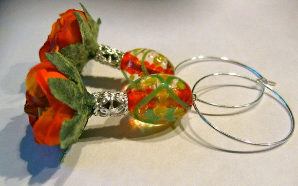 Silk flower earrings: Feisty Fiesta hoop earrings