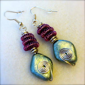 Olive & Wine coiled wire earrings