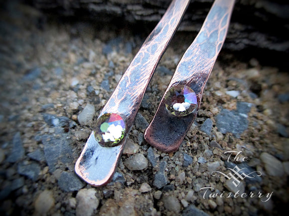 Copper & Crystal Twisted Bar earrings