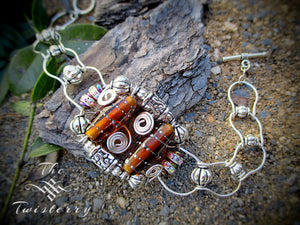 Crown Jewel series: Amber glass bracelet