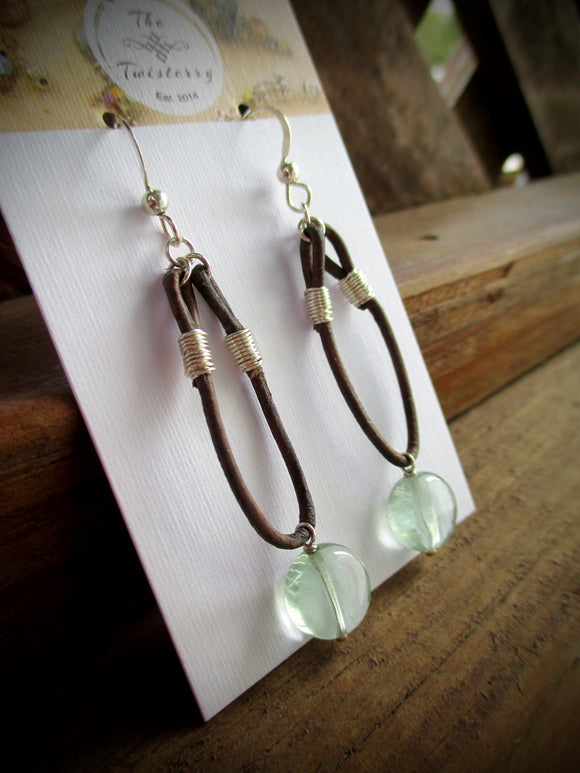 Fluorite Leather Hoop earrings