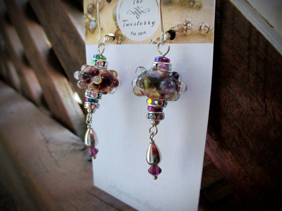 Grape Opal Glitter earrings