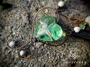 Mint Glass Heart necklace