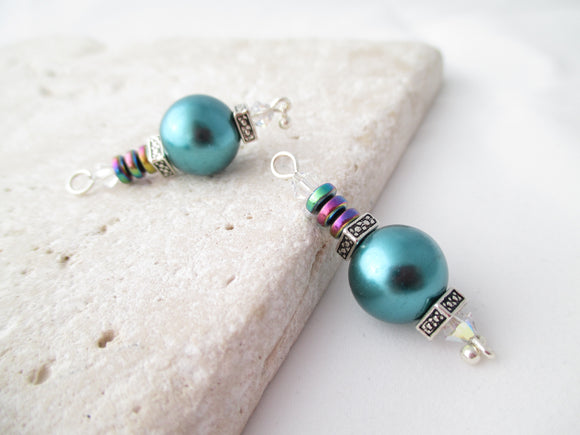 Teal Pearl Baubles earrings II