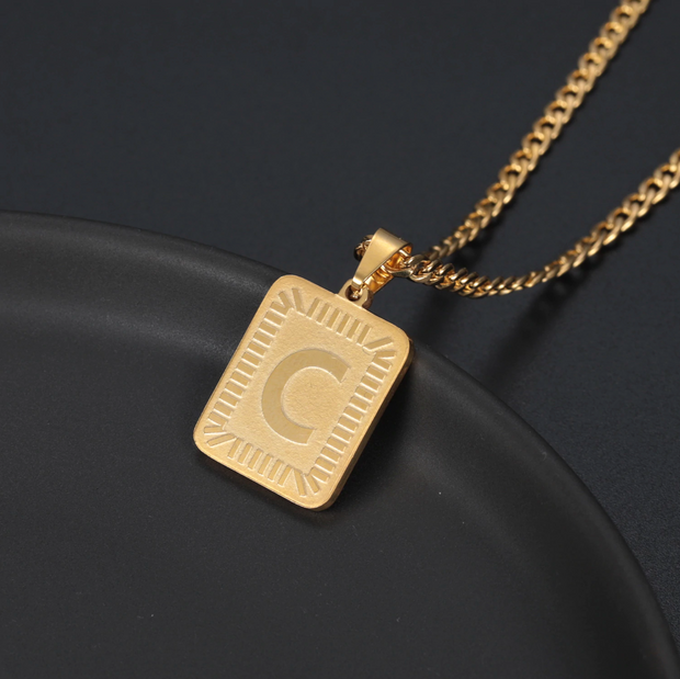 Embossed Initial Necklace | Dorado Fashion