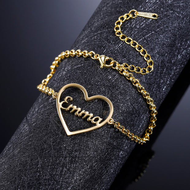 Heart Shape Name Bracelet | Dorado Fashion