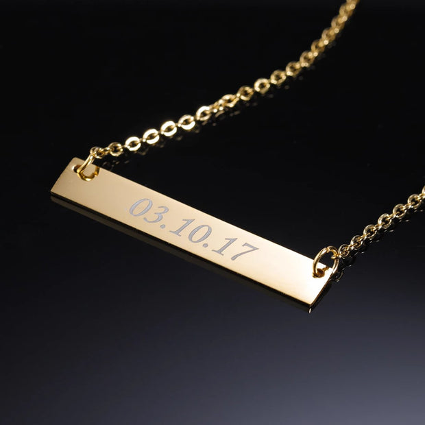 Engraved Bar Necklace | Dorado Fashion