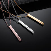 Engraved 3D Bar Necklace | Dorado Fashion