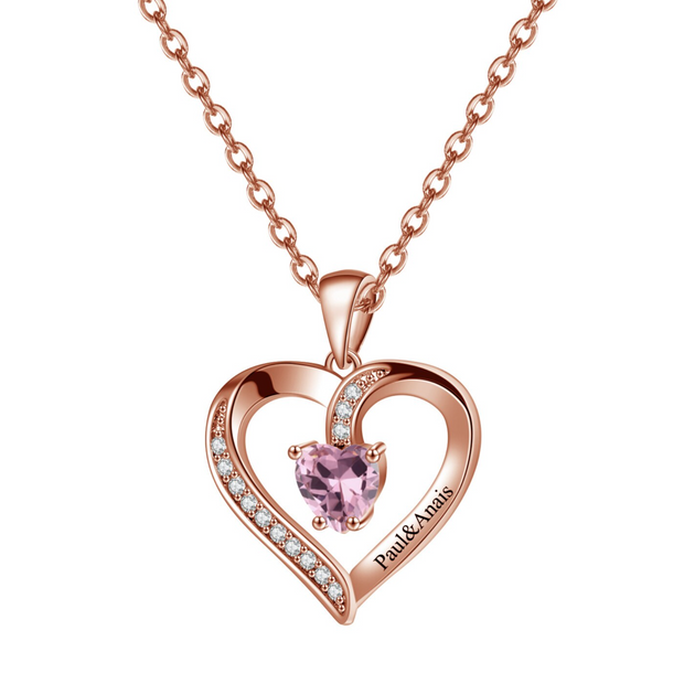 Birthstone Heart Shape Necklace | Dorado Fashion