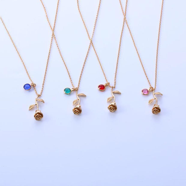 Birthstone Rose Necklace | Dorado Fashion