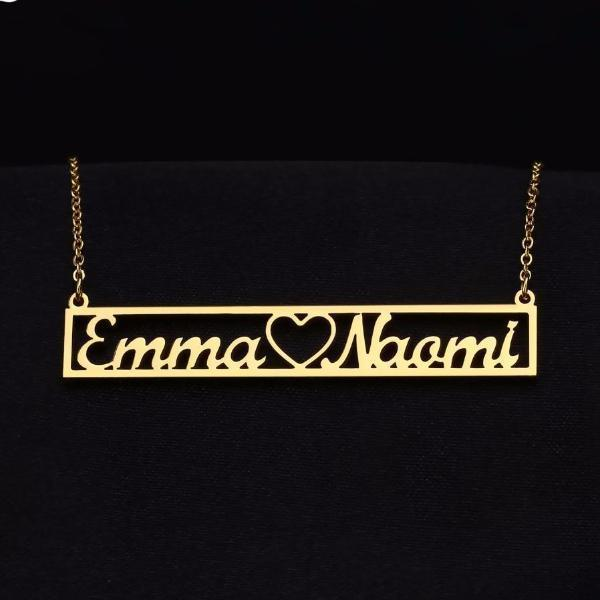 Hollow Name Bar Necklace | Dorado Fashion