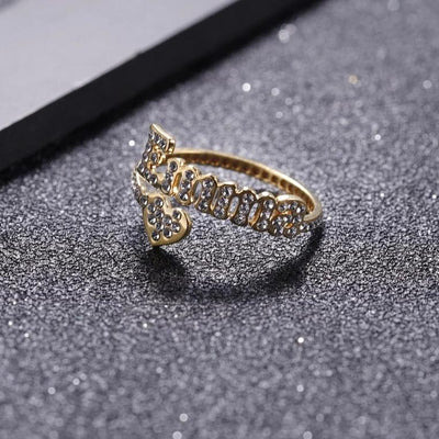 Iced Out Name Heart Ring | Dorado Fashion