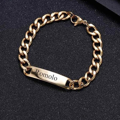 Engraved Bar Cuban Link Bracelet | Dorado Fashion