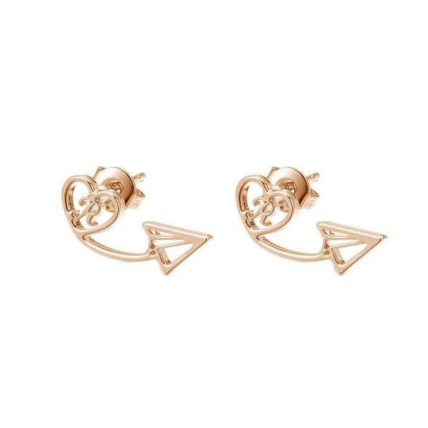 Heart Initial Stud Earrings | Dorado Fashion